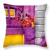 Door - Lavender Throw Pillow by Mike Savad