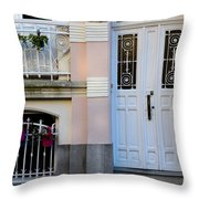 Door Number Six With Window And Plants Throw Pillow