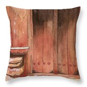 Door Series - Door 11 - Village Of Albanayeh Near Natanz Throw Pillow