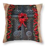Door With Christmas Decoration  Throw Pillow