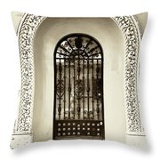 Door With Decorated Arch Throw Pillow