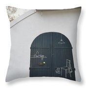 Door With Drawings Throw Pillow