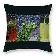 Doors In Cozumel Throw Pillow