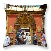 Doorway In Bhaktapur Durbar Square In Bhaktapur-nepal Throw Pillow
