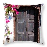 Doorway Oia Santorini Greek Islands Throw Pillow
