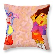 Dora And Boots Throw Pillow by George Rossidis