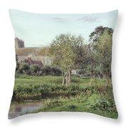 Dorchester Abbey, Near Wallingford, Autumn Evening Throw Pillow