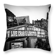 Dory Fishing Fleet Live Crab And Lobster Sign Picture Throw Pillow