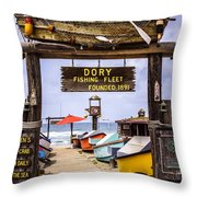 Dory Fishing Fleet Market Newport Beach California Throw Pillow by Paul Velgos