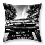 Dory Fishing Fleet Sign Picture In Newport Beach Throw Pillow
