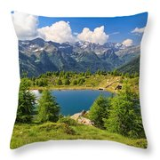 Doss Dei Gembri Lake In Pejo Valley Throw Pillow