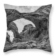 Double Arches Bw Throw Pillow