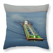 Double Barge On Calm Santa Rosa Sound From Navarre Bridge At Sunrise Throw Pillow
