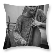 Double Bass Player Throw Pillow by David Morefield