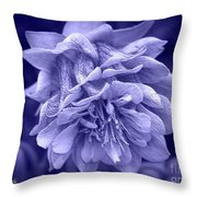 Double Columbine In Blue Throw Pillow