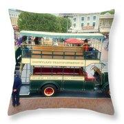 Double Decker Bus Main Street Disneyland 02 Throw Pillow