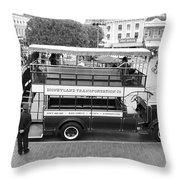Double Decker Bus Main Street Disneyland Bw Throw Pillow