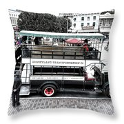 Double Decker Bus Main Street Disneyland Sc Throw Pillow