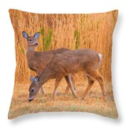 Double Does Throw Pillow
