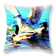 Double Dip Duck And See Gull  Throw Pillow