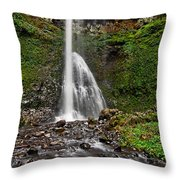 Double Falls In Silver Falls State Park In Oregon Throw Pillow