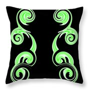 Double Green Swirl Throw Pillow