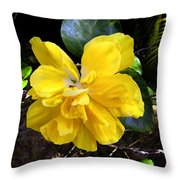 Double Hibiscus Costa Rica Throw Pillow