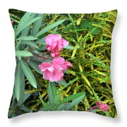 Double Oleander Throw Pillow