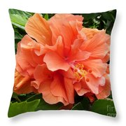 Double Peach Hibiscus Throw Pillow