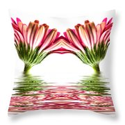 Double Pink Gerbera Flood Throw Pillow