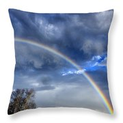Double Rainbow Over Mountain Throw Pillow by Thomas R Fletcher