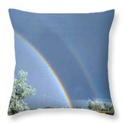 Double Rainbows In Colorado Throw Pillow