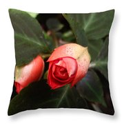 Double Rose Impatiens Throw Pillow