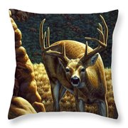 Whitetail Buck - Double Take Throw Pillow by Crista Forest