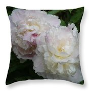 Double White  Peony Throw Pillow