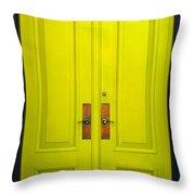 Double Yellow Doors Throw Pillow