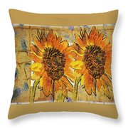 Double Yellowed Throw Pillow