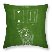 Dougherty Playing Cards Patent Drawing From 1876 - Green Throw Pillow by Aged Pixel