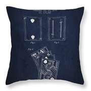 Dougherty Playing Cards Patent Drawing From 1876 - Navy Blue Throw Pillow