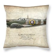 Douglas Bader Spitfire - Map Background Throw Pillow