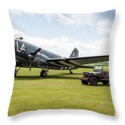 Douglas C-47a Skytrain Ready For D-day Throw Pillow