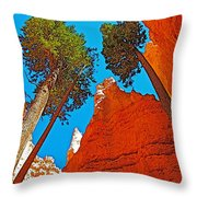 Douglas Firs On Wall Street On Navajo Trail In Bryce Canyon National Park-utah Throw Pillow