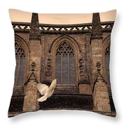Dove Flying By Church Throw Pillow