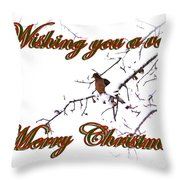 Dove - Snowy Limb - Christmas Card Throw Pillow