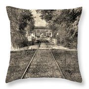 Down By The Tracks - Aged Throw Pillow
