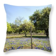 Down Country Bluebonnets Throw Pillow