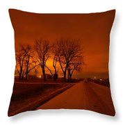 Down The Haunting Road Under The Orange Sky Throw Pillow