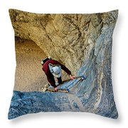 Down The Ladder In Big Painted Canyon Trail In Mecca Hills-ca  Throw Pillow