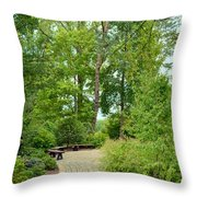 Down The Path To The Bench Throw Pillow