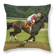 Down The Stretch Throw Pillow